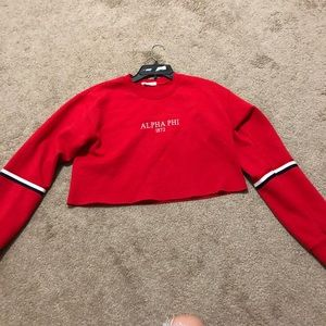 Tops - Red alpha phi cropped crew neck